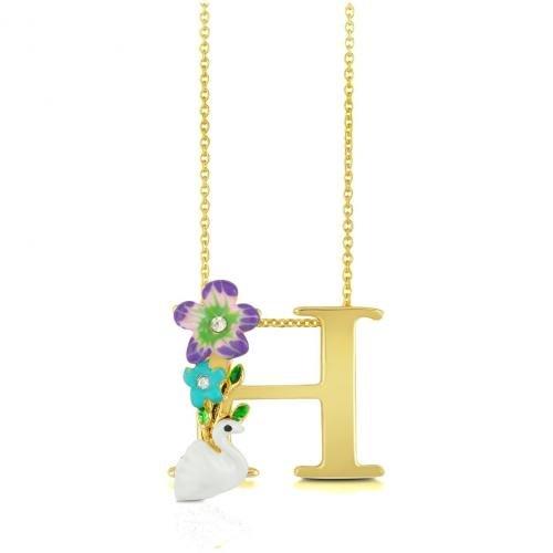 Les Nereides Alphabet Fleuri Halskette mit Buchstabenanhänger H