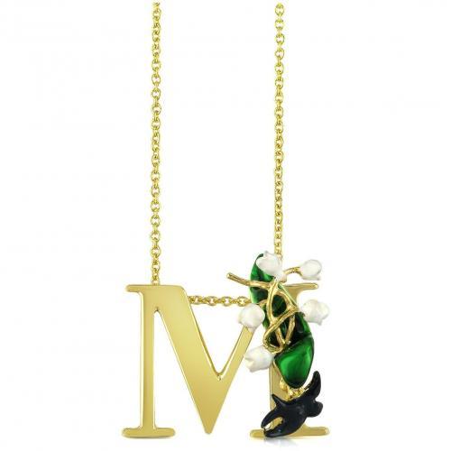 Les Nereides Alphabet Fleuri Halskette mit Buchstabenanhänger M