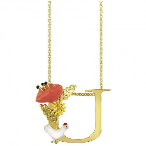 Les Nereides Alphabet Fleuri Halskette mit Buchstabenanhänger U