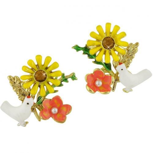 Les Nereides Alphabet Fleuri Weiße Taube & Sonnenblume Ohrringe