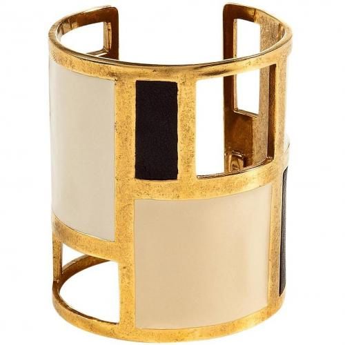 Lizzie Fortunato Antique Gold Plated Cuff with Enamel and Leather Inlay