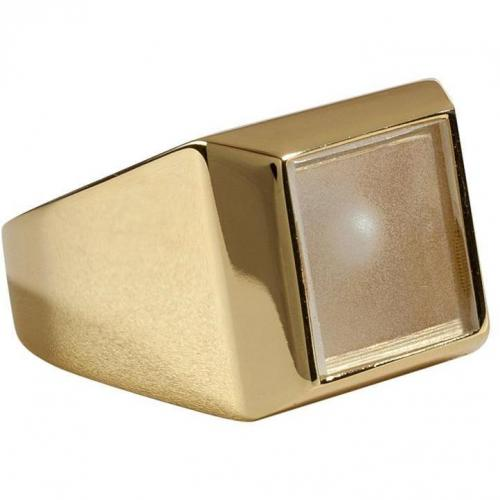 Maison Martin Margiela Gold-Toned Ring with Peek-a-Boo Pearl Bead