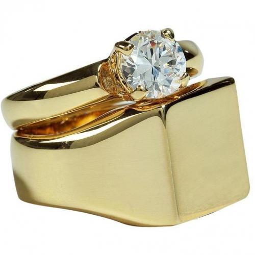 Maison Martin Margiela Golden Crystal Embellished Twofold Ring