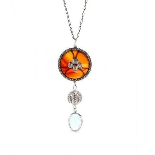 Makri for The Row 18kt weißgold Halskette mit Achat-Anhänger, weißen und braunen Diamanten und Aquamarinstein