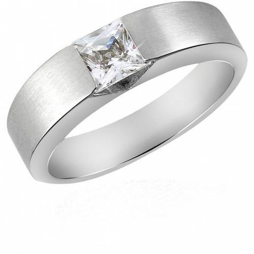 Manül Zed Extra' Collection Breiter Ring aus Edelstahl mit zentralem Edelstein