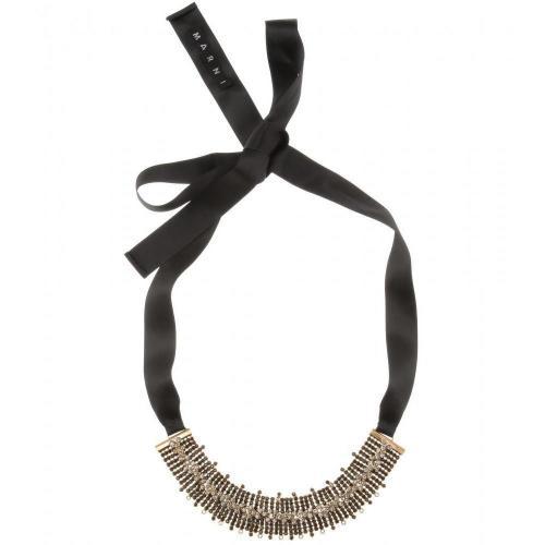 Marni Kristall-Halskette Schwarz