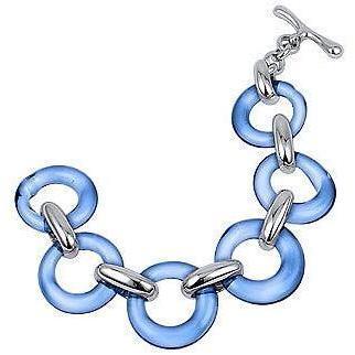 Masini Gioielli Armband aus blaüm rundem Muranoglas & Sterlingsilber