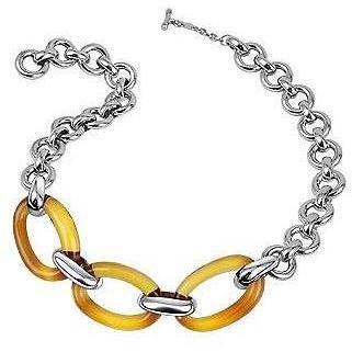 Masini Gioielli Halskette aus bernsteinfarbenem ovalem Muranoglas & Sterlingsilber