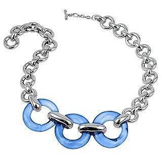 Masini Gioielli Halskette aus blaüm runden Muranoglas & Sterlingsilber