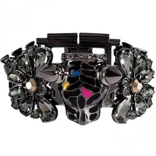 Mawi Hematite-Plated Panther Head Armband mit Kristallen