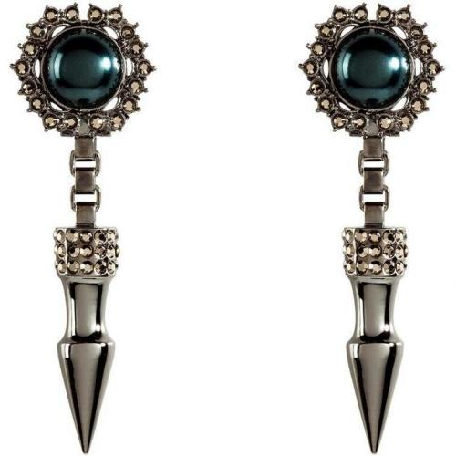 Mawi Hematite-Plated Spike & Cabouchon Pearl Ohrringe