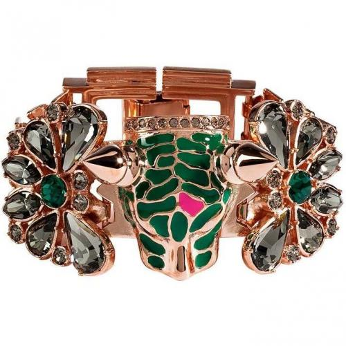 Mawi Rose Gold-Plated Panther Head Armband mit Kristallen