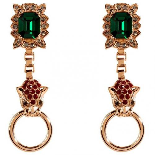 Mawi Rose Gold-Plated Panther Head & Crystal Ohrringe