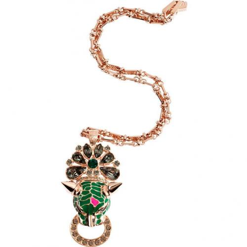 Mawi Rose Gold-Plated Panther Head & Crystal Pendant