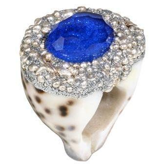 Mesi Jilly Blue Bali Muschel Struktur Ring mit Topaz