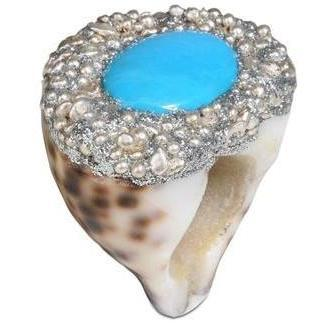Mesi Jilly Capri Muschel Struktur Ring Grünblau