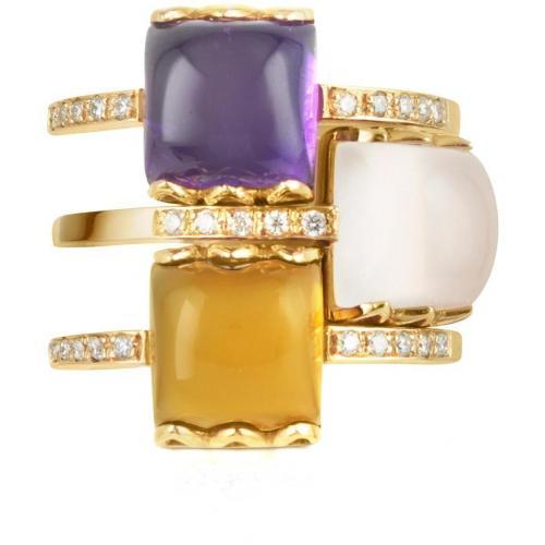 Mia & Beverly Ring aus 18k Rosegold mit Edelsteinen und Diamanten
