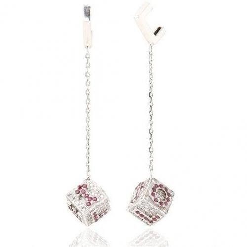 Miss Back Kube Ohrringe mit Rubinen und Diamanten