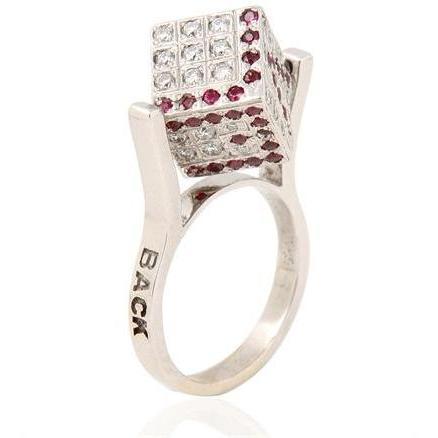 Miss Back Kube Ring mit Rubinen und Diamanten