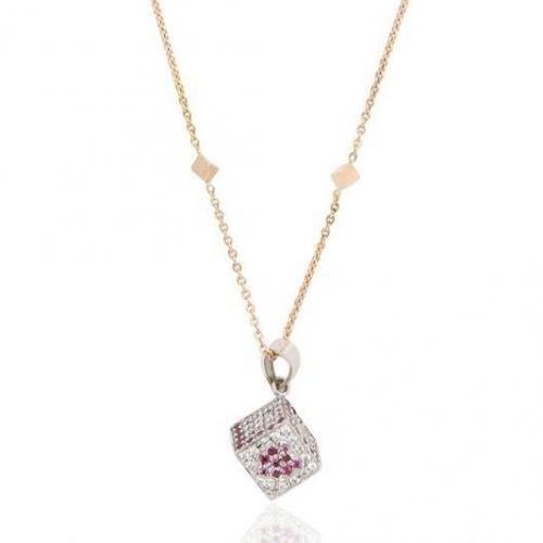 Miss Back Ruby Kube Halskette aus Gold und Diamanten