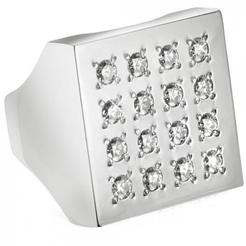 Mita Marina Milano Geo Ring aus 18k Weißgold mit Diamanten