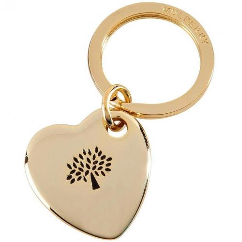 Mulberry Golden Metal-Enamel Heart Keyring