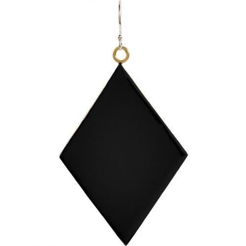 Nora Kogan Black Enameled Diamond-Shaped Single Ohrring
