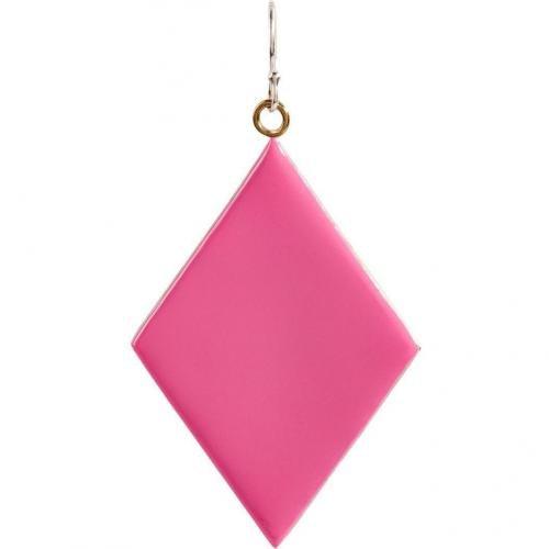 Nora Kogan Pink Enameled Diamond-Shaped Single Ohrring