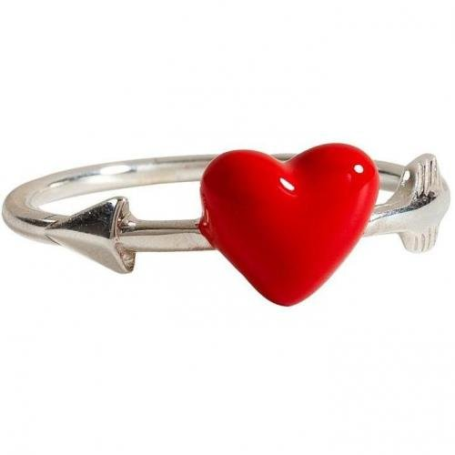 Nora Kogan Silver-Toned Venus Ring with Red Enameled Heart