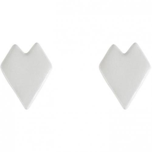 Nora Kogan White Enameled Heart Stud Ohrringe