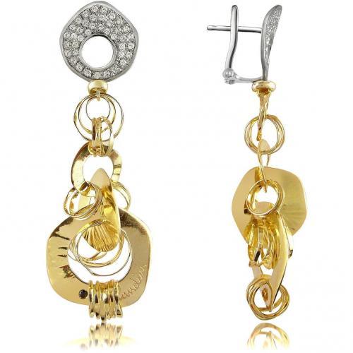 Orlando Orlandini Fashion Ohrringe aus 18k Gold in zweifarbig mit Diamant Big