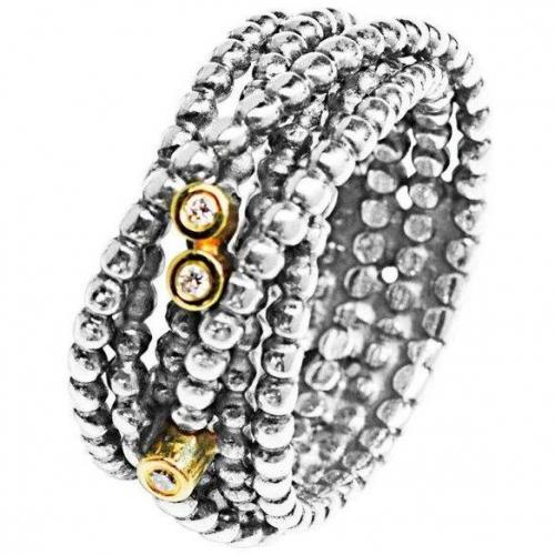 Pandora Ring Silber mit Gold 585 190242