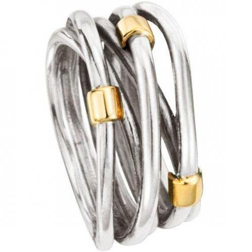 Pandora Ring Silber mit Gold 585
