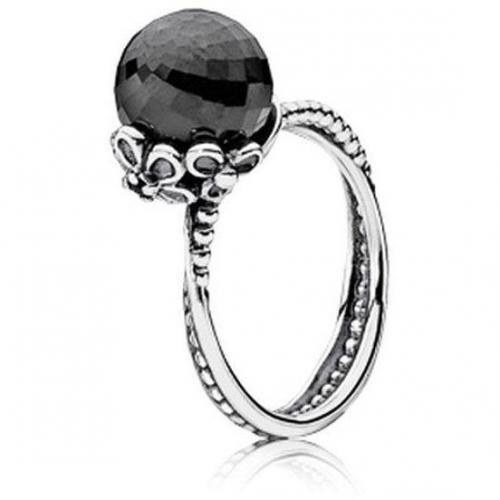 Pandora Ring Silber mit schwarzem Stein 190848SPB