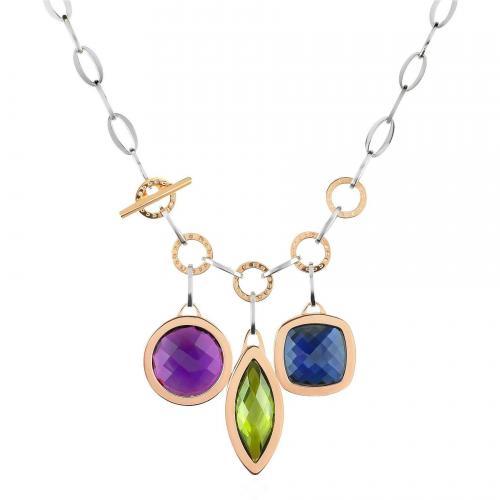 Rebecca Tropezienne Halskette aus Rosegold mit bunten Edelsteinen