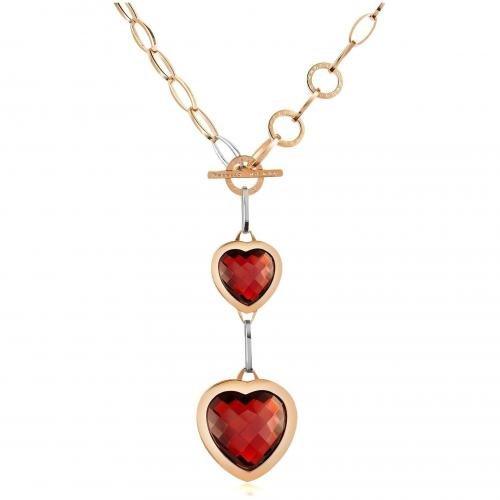 Rebecca Tropezienne Rosevergoldete Halskette mit roten Herzen