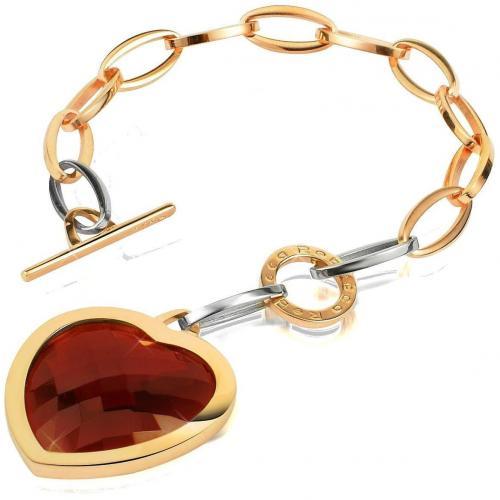 Rebecca Tropezienne Vergoldetes Armband mit Herzanhängern mit roten Edelsteinen