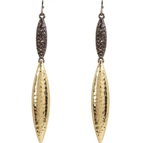 R.j.Graziano Anthracite/Gold-Toned Crystal Drop Ohrringe