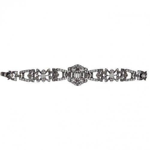 R.j.Graziano Silver Fancy Crystal Armband