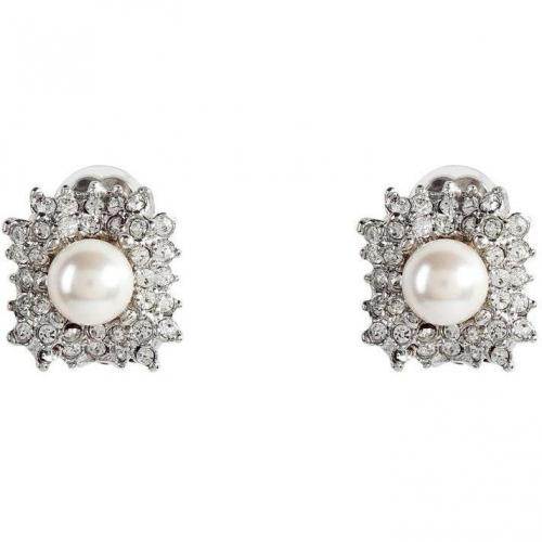 R.j.Graziano Silver-Toned Crystal and Pearl Bead Clip Ohrringe