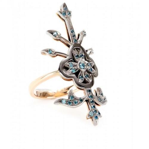Roberto Marroni 18kt Rot- und weißgold Macrame Ring mit blauen Diamanten