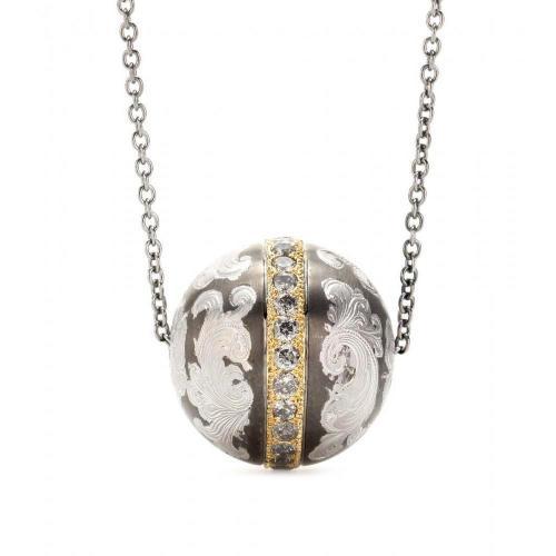 Roberto Marroni Halskette aus 18kt Gold und oxid.Silber mit Nielliertem Kugelanhänger und grauen Diamanten