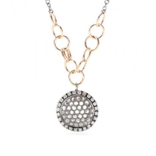 Roberto Marroni Halskette aus 18kt Oxidiertem weißgold mit Grauen, weißen und gelben Diamanten