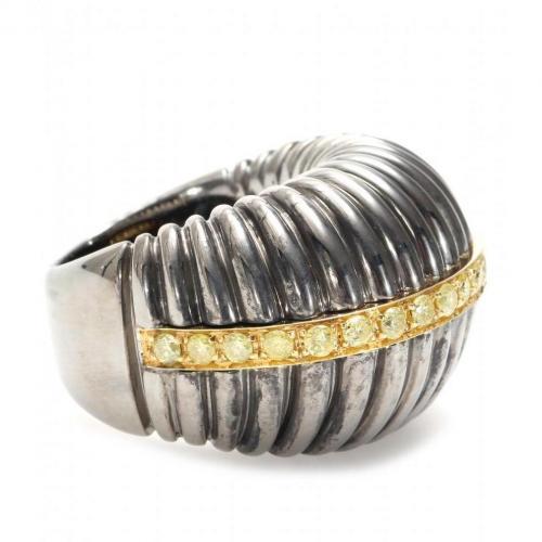 Roberto Marroni Ring aus oxid. 925Er Sterlingsilber mit gelben Diamanten und 18kt Gelbgold