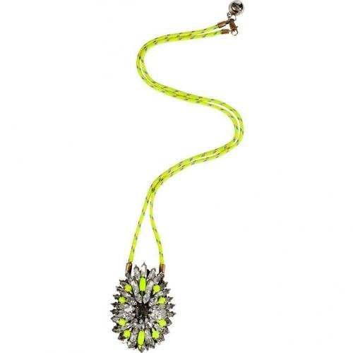 Shourouk Neon Yellow Crystal/Rope Leitmotiv Iconic Halskette