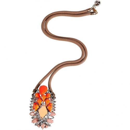 Shourouk Orange/Rose Crystal/Rope Leitmotiv Gretchen Halskette