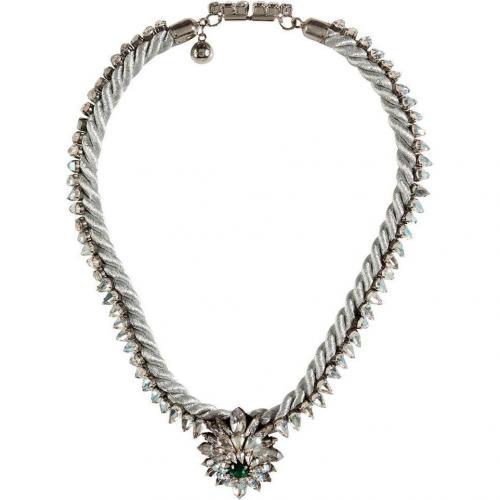 Shourouk Silver Grey Argento Crystal Patalia Halskette