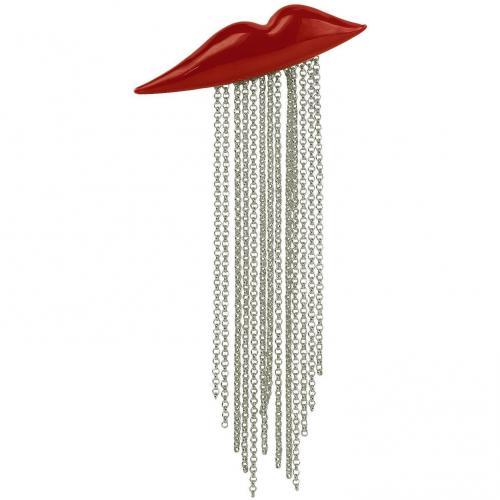 Sonia Rykiel Red Lips Brosche aus lackiertem Metall mit Kettchen