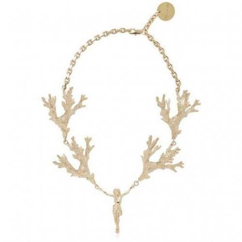 Stefano de Lellis 24 Kt vergoldete Heilige Halskette Geweihform