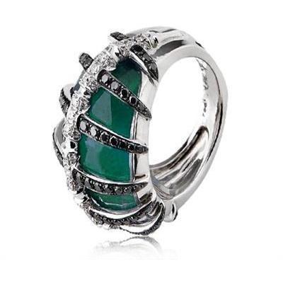 Stephen Webster Grüner Agat und Diamanten Knochen Ring
